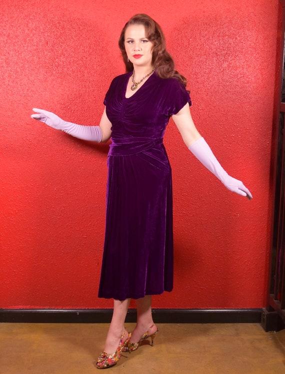 1930s Purple Silk Velvet Draped Dress - image 5