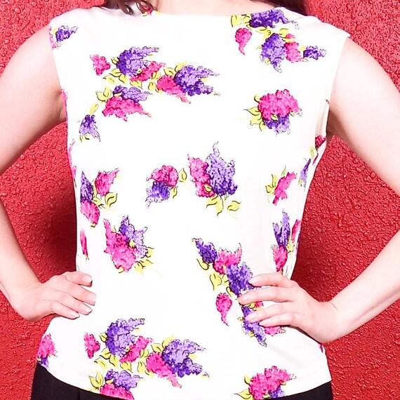 Vintage Lilac Rayon Jersey Shell Blouse - image 8