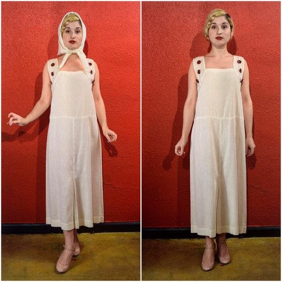 1920s White Dress Ribbed Cotton Chemise