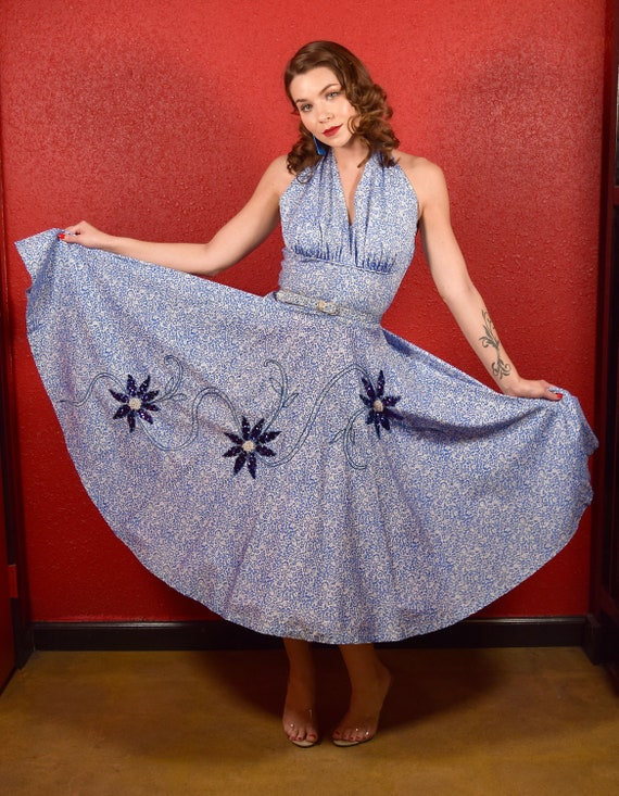 1950s Halterneck Dress Full Blue Circle Skirt with