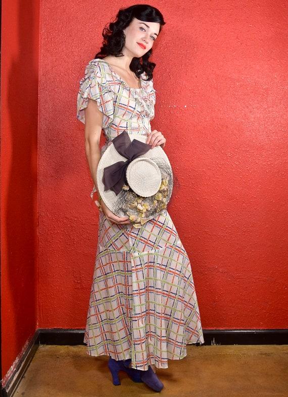 1930s Cotton Plaid Day Dress Ruffle Trim - image 7