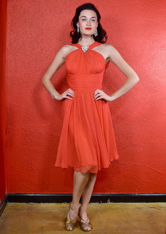 1950s Coral Chiffon Dress by Joan Leslie XS