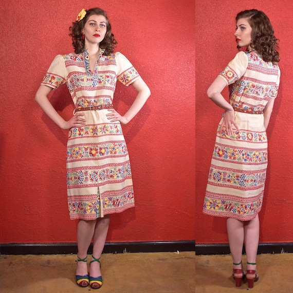 1930s Linen Print Dress Puff Pleat Sleeves