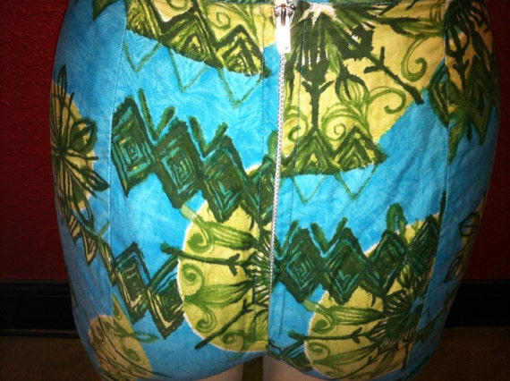 1950s Hawaiian Bikini Cotton XS Tiki Print Pinup - image 4