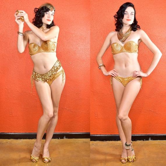 1950s Gold Eyelash Bikini Costume Showgirl Burlesq