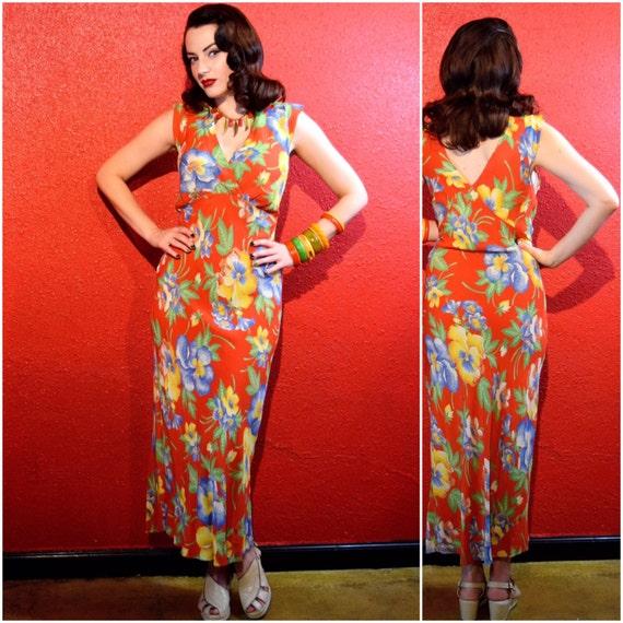 1940s Rayon Hawaiian Dress Bias Cut Tropical Print