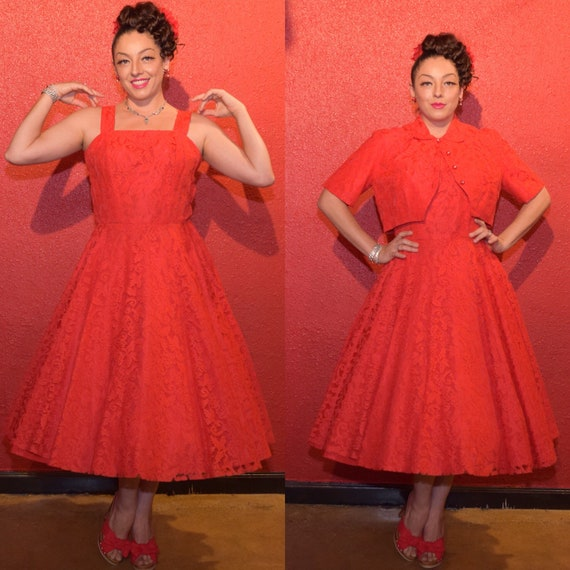 1950s Red Lace Dress Large with Bolero and Circle… - image 1