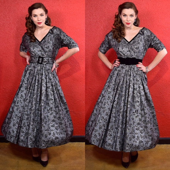 1950s Dress Silver and Black Butterfly Print & App