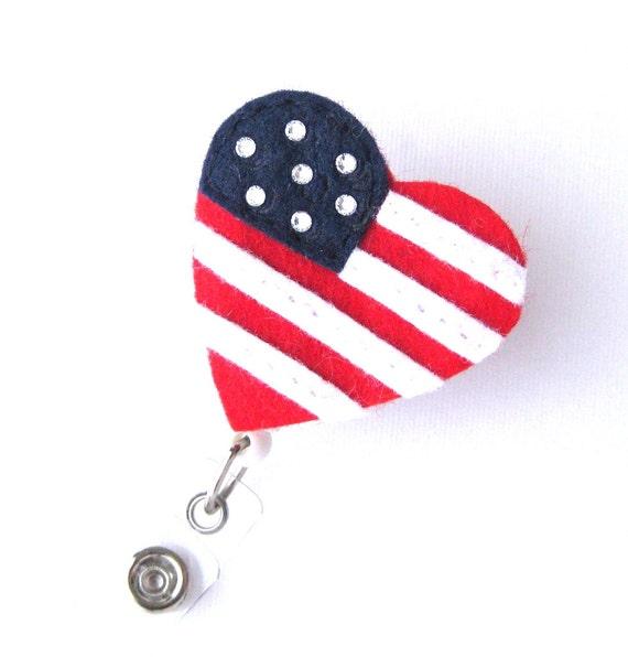 American Flag - Name Badge Holder - Cute Badge Reels - Unique Retractable  ID Badge Holder - Felt Badge Reel - Peds RN Badge - BadgeBlooms