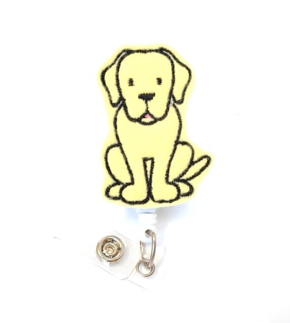 Labrador - Felt Badge Holder - Cute Badge Reel - Retractable ID Badge Clips  - Feltie Badge Pull - Unique Nurse Badge Reels - BadgeBlooms