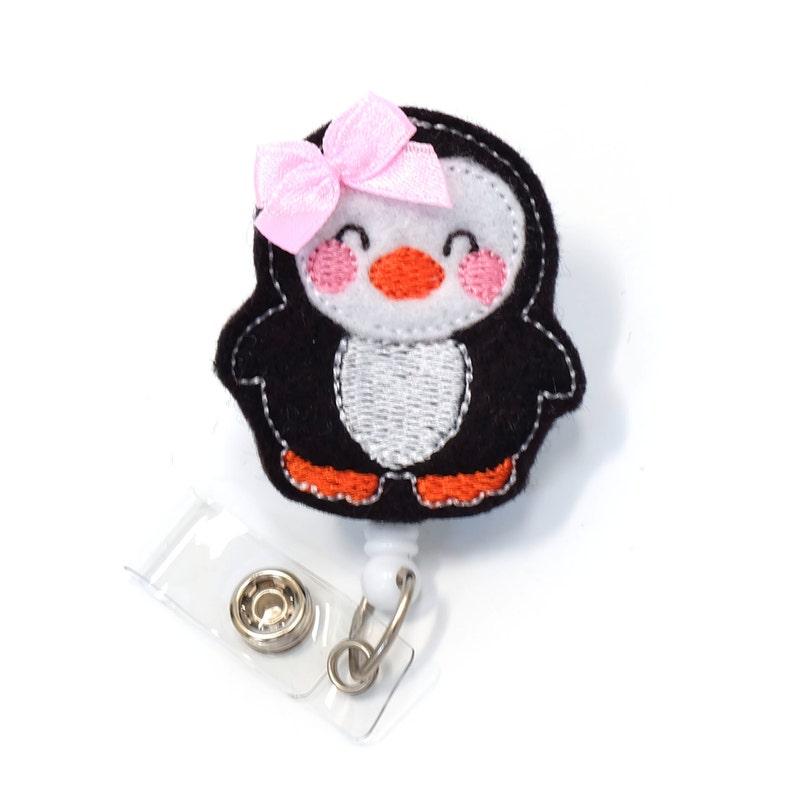 Pretty Penguin - Felt Badge Holder - Cute Badge Reel - Retractable ID Badge  Clip - Feltie Badge Pull - Nurse Badge Reels - BadgeBlooms