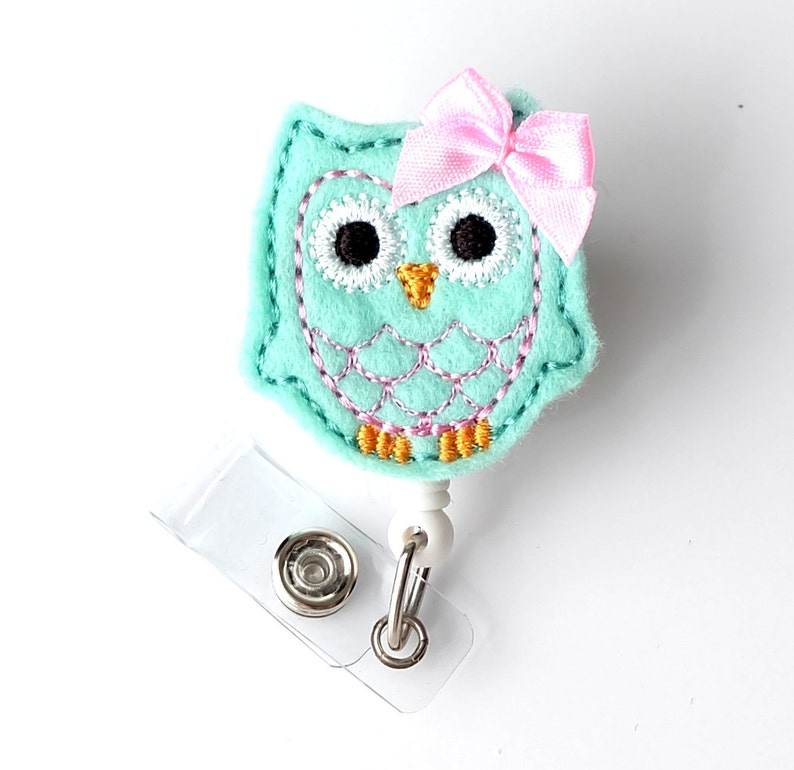 Mint Owl - Name Badge Holder - Cute Badge Reels - Unique Retractable ID  Badge Holder - Felt Badge Reel - RN Badge - BadgeBlooms