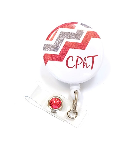 Retractable Badge Reel Name ID Pull Clip Holder Pharmacy Technician Tech Gift
