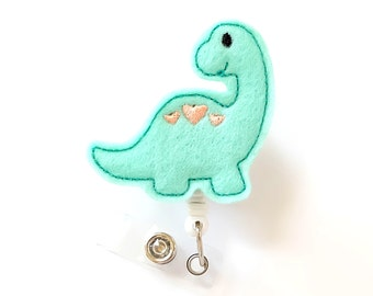 Dinosaur - Felt Badge Holder - Cute Badge Reels - Retractable ID Badge Clips - Pediatric Nurse Badge Pulls - Nurse Gifts - BadgeBlooms