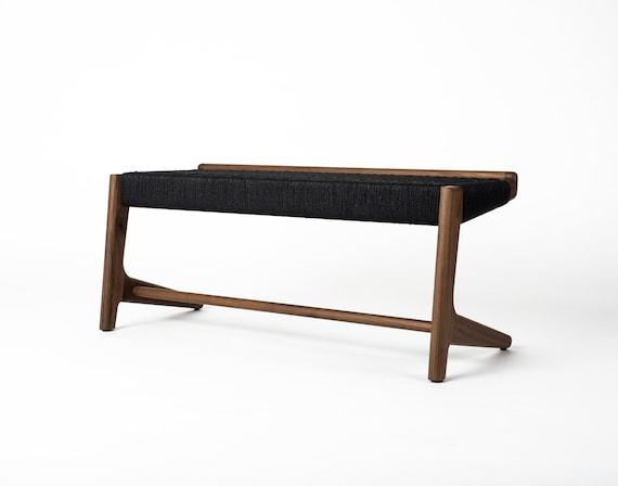 Excellent Cantilever Bench Walnut Black Woven Danish Cord Mid Century Modern Hardwood Rian Collection Machost Co Dining Chair Design Ideas Machostcouk