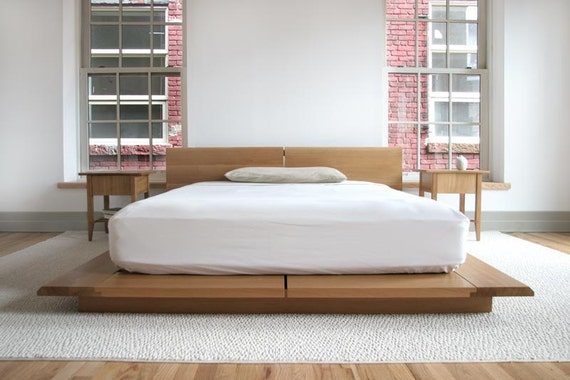 King Rift Bed With Headboard Mid Century Modern Platform Etsy