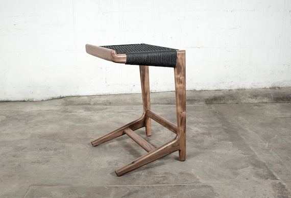 Pleasant Cantilever Barstool Woven Danish Cord Mid Century Walnut Hardwood Pdpeps Interior Chair Design Pdpepsorg