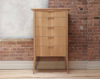 Mid-Century Hardwood Dresser, Modern Storage, Rift High Boy