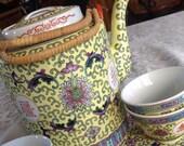 50 Off, Vintage Famille Rose Porcelain Tea Set, Yellow Porcelain, Pink Rose, 7 quot Tea Pot, 10 quot Tray, 4, 2 quot Cups