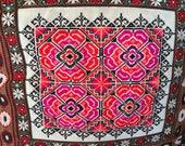 50 Off Folk Art Pillows, Handmade Moroccan, Austrian, Swiss, Embroidery, Needlepoint, Holiday Pillows, 2 Pillows, 18 quot Square, Gift
