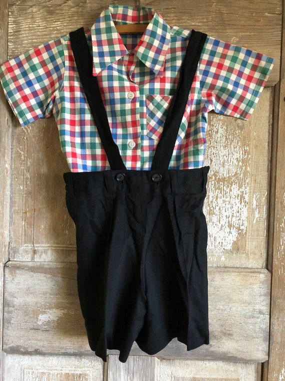 Boy's Trousers Set, Red Blue White Checked Shirt,