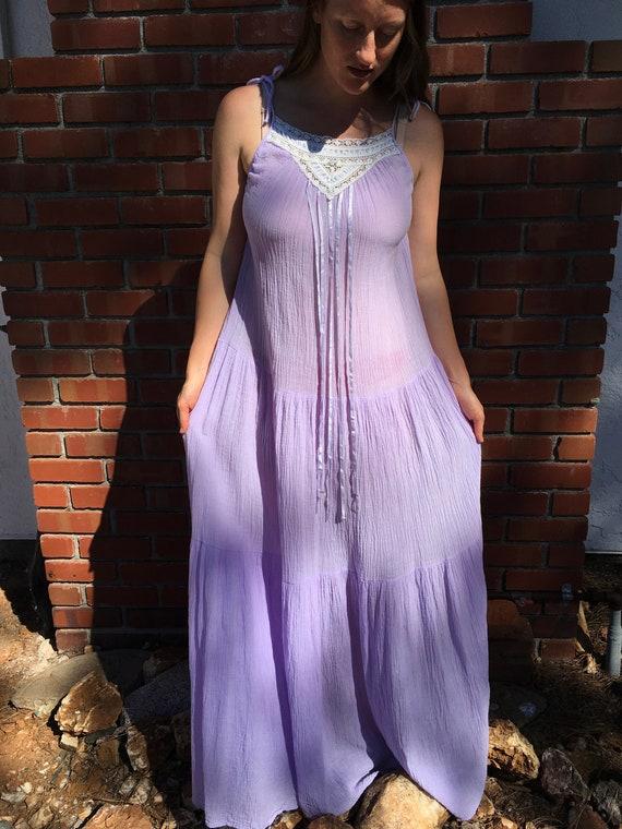 Lavender Cotton Gauze Night Dress, Tiered Cotton M