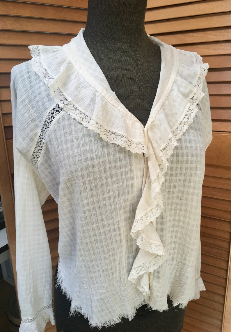 d7df640519e8b1 On Sale Antique Off White Blouse Ruffle Front Sheer White