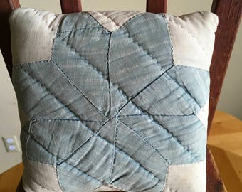 Vintage Quilted Doll Pillow, Small Accent Pillow, Star Pattern