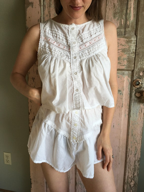 White Cotton Eyelet and Lace Crop Top Play Set, 80