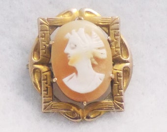Antique Cameo Brooch, Cameo Collar Pin, Victorian Cameo Pin, Antique Cameo Jewelry, Victorian Collar Jewelry, Signed Cameo Pin