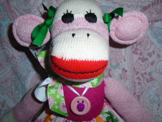 Piggy In Pink Sock Monkey Girl Doll Dressed In Pig Skirt With Matching Sweater And Ribbon