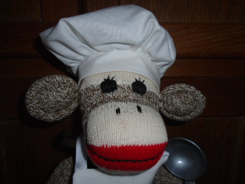Chef Baker Cook Brown Red Heel SockMonkey Doll With Hat And Apron