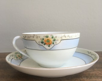 Vintage Meito China, Hand Painted Blue and White Teacup and Saucer, Made in Japan