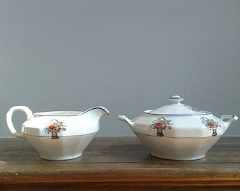 Vintage Edwin M. Knowles China Co. Sugar and Creamer Set