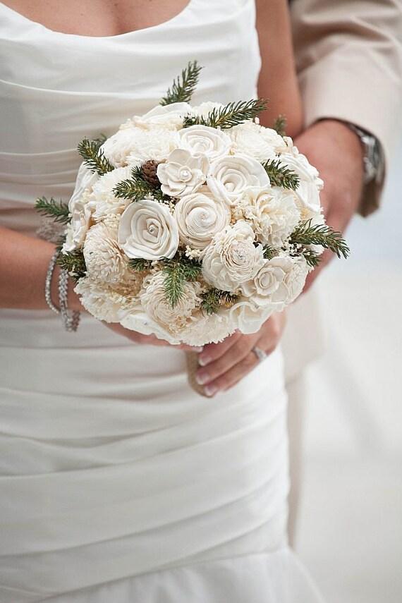 Wedding Bouquet Sola Bouquet Winter Bouquet Bridal Brooch Etsy