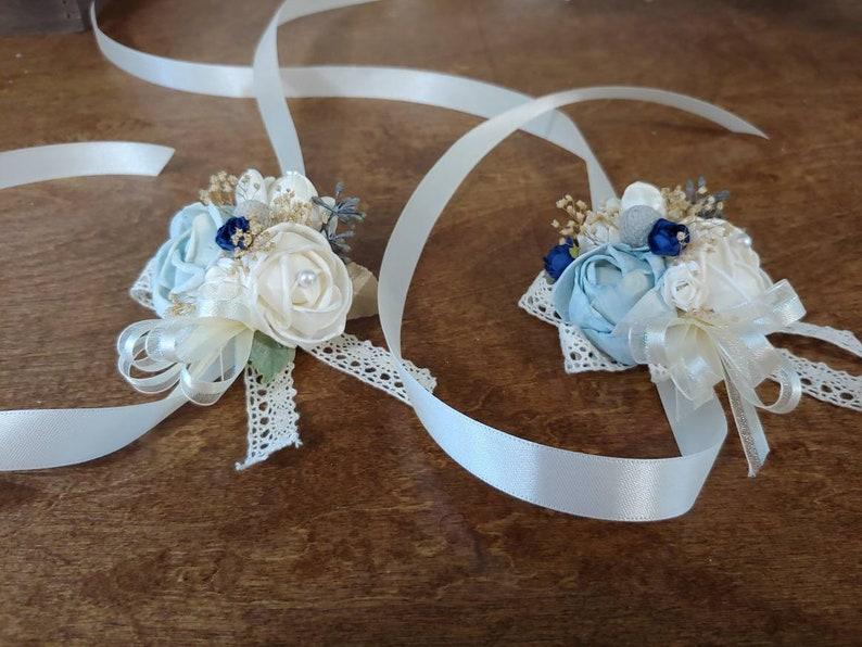 Sola Bouquet navy Blue Cream Corsage Wedding Mothers wrist corsage blue corsage Sola Wood Corsage Ready to ship Corsage