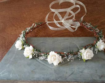 wedding accessories, bridal headband, bridal hair flower, sola rustic flower bridal hair crown, woodland wedding, bridal headpiece