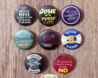 Riverdale inspired buttons - pinback or magnets ||| Jughead River Vixens Josie and the Pussycats Archie Betty Veronica Pop's badge pin