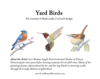 Yard Birds Blank Notecards, set of 6 watercolor reproductions