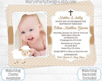 Lamb baptism invite etsy lamb baptism invitation boy first 1st birthday christening baptismal baby tan beige neutral sheep photo picture personalized printable filmwisefo