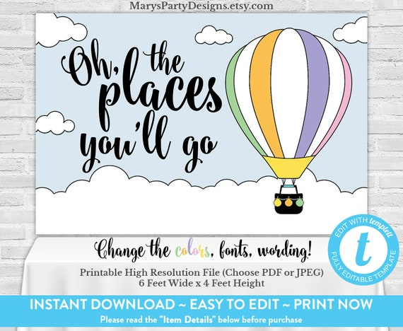 photograph regarding Oh the Places You'll Go Balloon Printable Template identified as Oh The Locations Youll Transfer Backdrop Backdrop - Banner Sizzling Air Balloon - Prompt Down load Printable - Edit Previously with