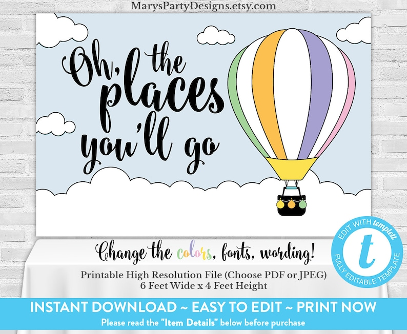 photo regarding Oh the Places You'll Go Printable Template called Oh The Sites Youll Move Backdrop Backdrop - Banner Scorching Air Balloon - Quick Down load Printable - Edit Presently with