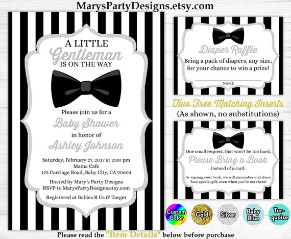 Little Gentleman Baby Shower Invitation Boy Silver Black White Stripes Man Bow Tie Free Diaper Raffle Ticket Book Request Card Printable