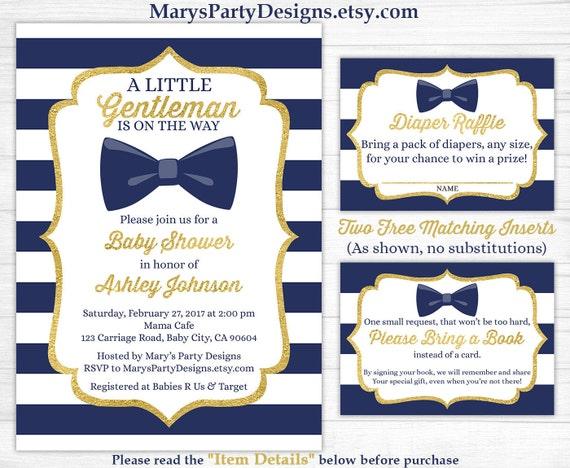 Little gentleman baby shower invitation boy gold navy white etsy image 0 filmwisefo