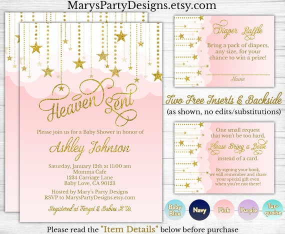 Heaven Sent Baby Shower Invitation Pink Coed Twinkle Twinkle Etsy