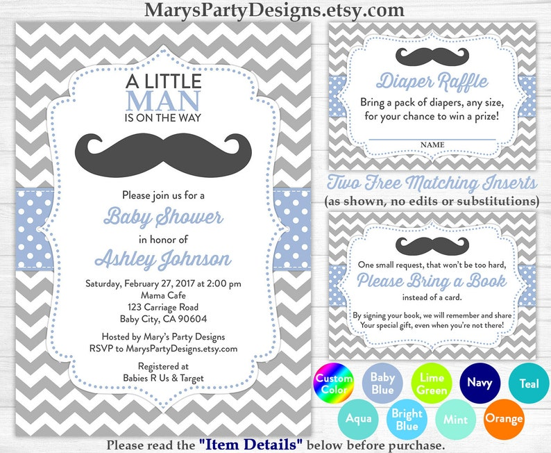 picture regarding Free Printable Mustache Baby Shower Invitations named Very little Person Boy or girl Shower Invitation - Boy Child Blue Mustache Sprinkle Absolutely free Diaper Raffle Ticket Ebook Question Card Custom made Printable