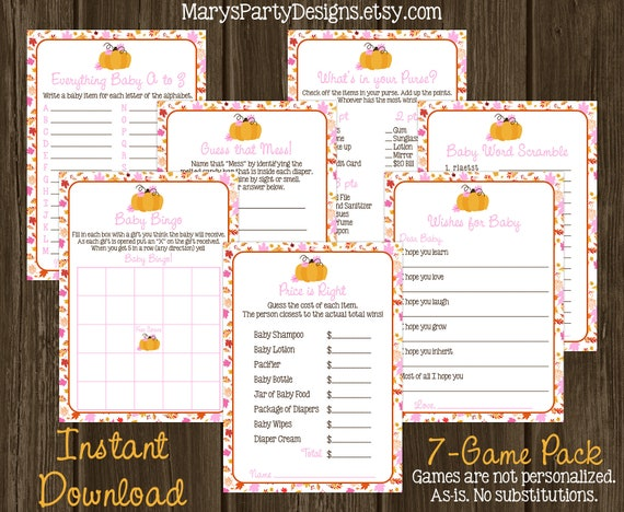 Little Pumpkin Baby Shower Game Package - Kit Pack - Girl Pink Autumn Fall  Wishes Bingo Purse Price Mess ABC Scramble Printable