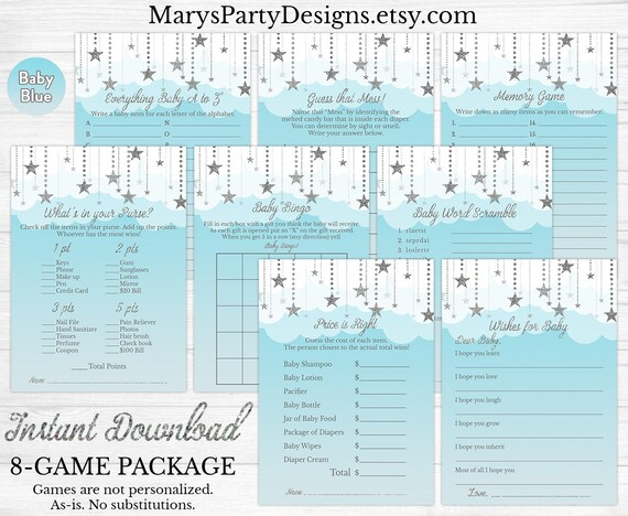 Heaven Sent Baby Shower Game Package - Twinkle Little Star Baby Shower Game  Package - Kit Pack - Blue Silver Printable