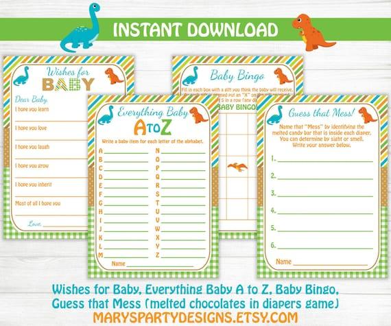 Dinosaur Baby Shower Games Pack Wishes For Baby Baby Bingo Etsy