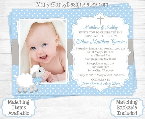 Lamb baptism invitation boy first 1st birthday christening etsy image 0 filmwisefo